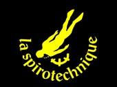 logo de la Spirotechnique, représentant un plongeur en jaune sur un fond noir