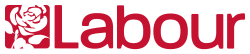 "Red on white word ""Labour"" in sans-serif font to the right of white on red silhouette of a rose."