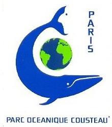 logo du parc océanique Cousteau représentant une baleine bleue autour du globe terrestre