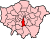 Location of the London Borough of Lambeth in Greater London