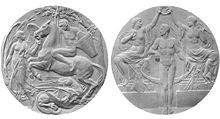 Two grey circular medals are shown side by side. The one on the left depicts a man riding a horse over a dragon, next to an angel; the one on the right shows two partially clothed women holding a laurel wreath over a naked man.