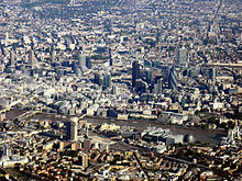 An aerial photograph of the City of London and its surrounding London boroughs.
