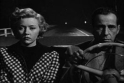 Black-and-white image of a man and woman, both with downcast expressions, sitting side by side in the front seat of a convertible. The man, on the right, grips the steering wheel. He wears a jacket and a pullover shirt. The woman wears a checkered outfit. Behind them, in the night, the road is empty, with a two widely separated lights way off in the distance.