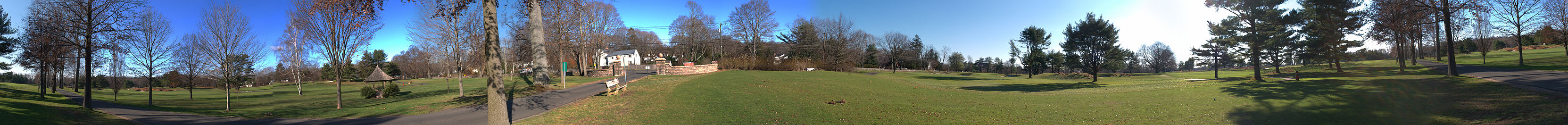A panoramic view looking over Longshore Club Park, Westport, CT.