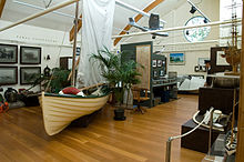 Photograph of the main room of the Lord Howe Island Museum with diversity of exhibits