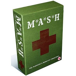 "A green-covered DVD box set with a red medical cross on the front. White lettering on the cover reads on top ""M*A*S*H"" and on the bottom ""The Martinis and Medicine Collection"""