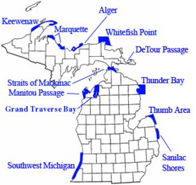 Map showing the location of Marquette Underwater Preserve