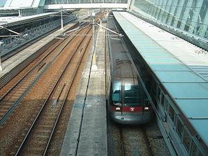 Tung Chung Line train at Sunny Bay Station