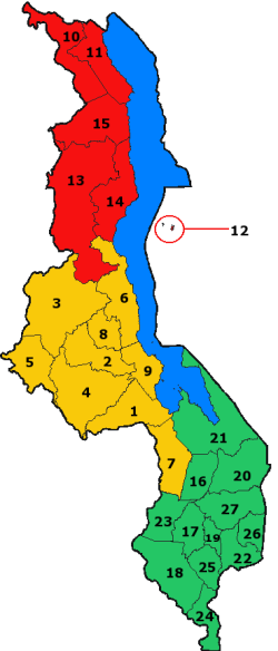 A clickable map of Malawi exhibiting its 28 districts.