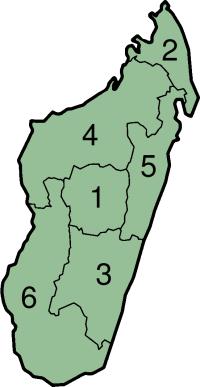 خريطة للمناطق والمحافظات السابق لمدغشقر