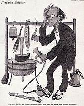 Caricature of Mahler surrounded by comical musical instruments, including a motor horn which he is operating by the use of his feet