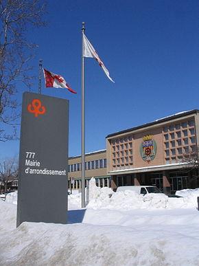 Mairie de l'arrondissement Saint-Laurent.Localisation de Saint-Laurent dans Montréal.Logo de l'arrondissement.