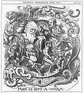 "Darwin&squot;s figure is shown seated, dressed in a toga, in a circular frame labelled ""TIME&squot;S METER"" around which a succession of figures spiral, starting with an earthworm emerging from the broken letters ""CHAOS"" then worms with head and limbs, followed by monkeys, apes, primitive men, a loin cloth clad hunter with a club, and a gentleman who tips his top hat to Darwin."