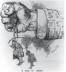 "A political cartoon. A closed fist protrudes from a jacket-sleeve covered in dollar signs; a cuff-link is marked ""MARK $ HANNA"". The hand tightly grasps a chain from which hangs a tiny, sorry-looking figure marked ""McKinley"". ""A Man of Mark!"" concludes the cartoon&squot;s caption."