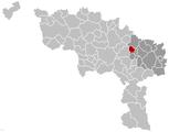 Situation de la commune dans l'arrondissement de Charleroi et la province de Hainaut