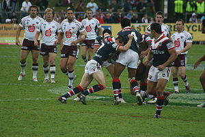 Manly Sea Eagles in action against the Sydney Roosters at Brookvale Oval in June 2008