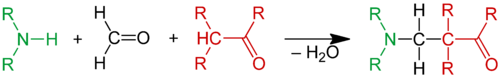 Scheme 1. Ammonia or an amine reacts with formaldehyde and an alpha acidic proton of a carbonyl compound to a beta amino carbonyl compound