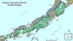 Map showing the location of Alaska Peninsula National Wildlife Refuge