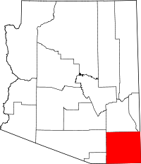 Map of Arizona highlighting Cochise County