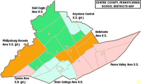 Map of Centre County, Pennsylvania Public School Districts