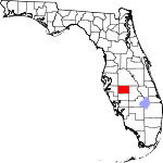 Map of Florida highlighting Hardee County
