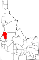 State map highlighting Adams County
