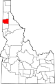 State map highlighting Benewah County