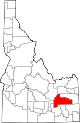 State map highlighting Bingham County