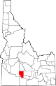 State map highlighting Gooding County