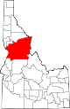 State map highlighting Idaho County