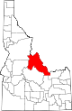 State map highlighting Lemhi County