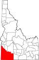State map highlighting Owyhee County