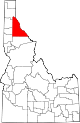State map highlighting Shoshone County