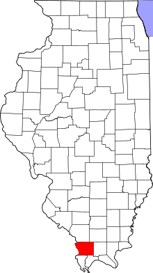 Map of Illinois highlighting Union County