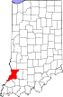Map of Indiana highlighting Knox County