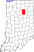 Map of Indiana highlighting Wabash County