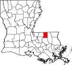 Map of Louisiana highlighting Saint Helena Parish