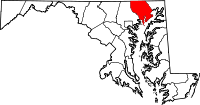 Map of Maryland highlighting Harford County