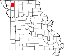 Map of Missouri highlighting Gentry County