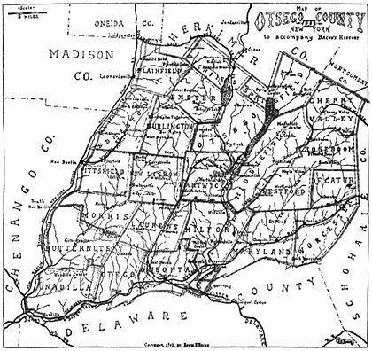 Map of Otsego County NY to accompany Bacon's History 1902