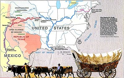 Map showing the location of Santa Fe Trail