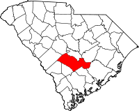 Map of South Carolina highlighting Orangeburg County