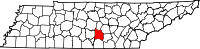 Map of Tennessee highlighting Coffee County