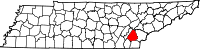 Map of Tennessee highlighting McMinn County