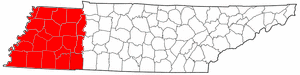 Map of Tennessee highlighting West Tennessee.png