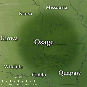 Map featuring traditional Osage lands by the late 17th century in the states of northwest Arkansas, southeast Kansas, southwest Missouri, and northeast Oklahoma