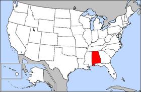 خريطة الولايات المتحدة مع تظليل ولاية ألاباما