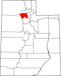 Map of Utah highlighting Davis County