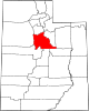 Map of Utah highlighting Utah County