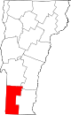 Map of Vermont highlighting Bennington County